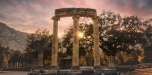 Sunset in Ancient Olympia Greece
