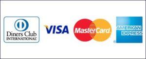 AMEX Visa, Visa Electron, Mastercard, DINERS Club Maestro